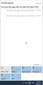 Windows 10 Notification Center Screenshot